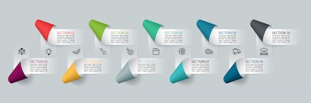Etichette di nastro di carta infografica, processi di opzioni infografica.