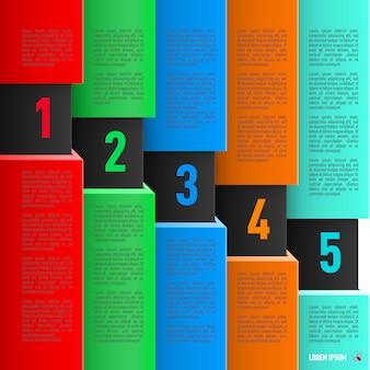 Infografiche in stile cartaceo con fogli colorati ed elementi numerati discendenti da uno a cinque
