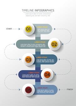 Infografiche. presentazione e grafico. passaggi o processi. opzioni numero modello di flusso di lavoro design, 5 passaggi.