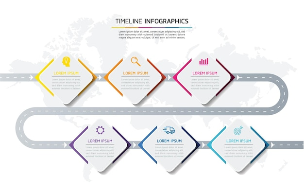 Infografiche. presentazione e grafico. passaggi o processi. opzioni numero modello di flusso di lavoro design, 6 passaggi.