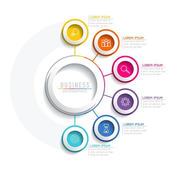 Infografiche. presentazione e grafico. passaggi o processi. opzioni numero modello di flusso di lavoro design. 6 passaggi.
