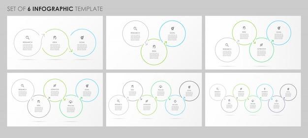 Infografica set con icone e 3, 4, 5, 6, 7 opzioni o passaggi. concetto di affari.