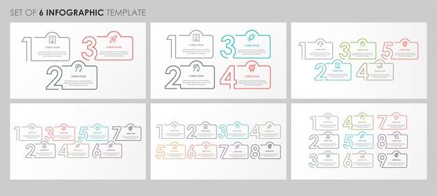 Infografica set con icone e 3, 4, 5, 7, 8, 9 opzioni o passaggi. concetto di affari.