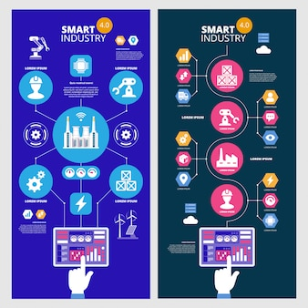 Infografica industria intelligente 4.0. intelligenza artificiale. set di banner vettoriali.