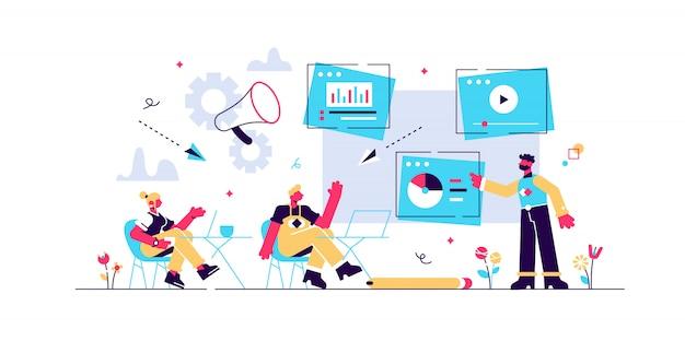 Infografica, diagrammi statistici e visualizzazione grafici. presentazione digitale, riunione online dell'ufficio, concetto di rappresentazione dei dati visivi. illustrazione creativa di concetto isolato