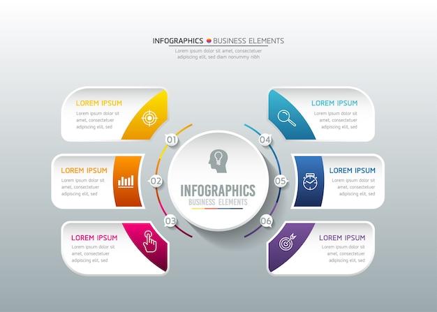 Infografiche. passaggi o processi. 6 passaggi.
