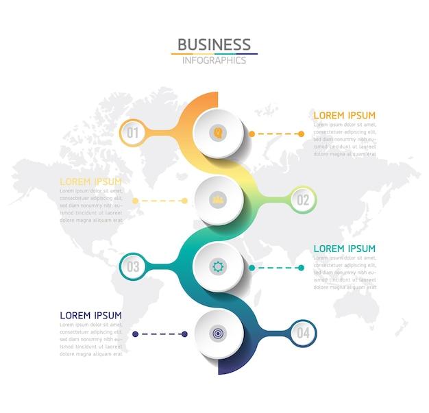 Infografiche. passaggi o processi. opzioni numero modello di flusso di lavoro design. 4 passaggi.