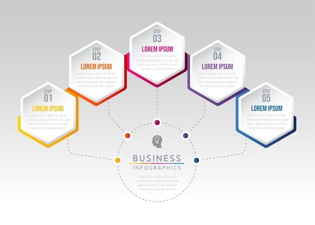 Infografiche. passaggi o processi. opzioni numero modello di flusso di lavoro design. 5 passaggi.