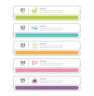 Infographics tab index a linee sottili con 5 template di dati