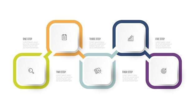 Progettazione del modello di infographics con le icone di marketing la sequenza temporale di affari elabora i passaggi