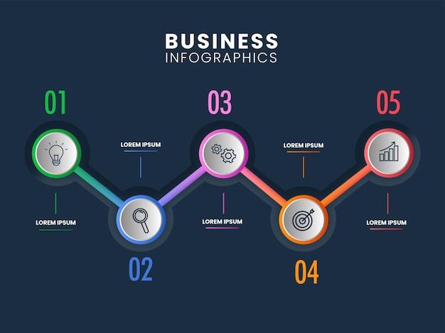 Layout del modello di infografica con icone di affari e cinque opzioni su sfondo blu teal.