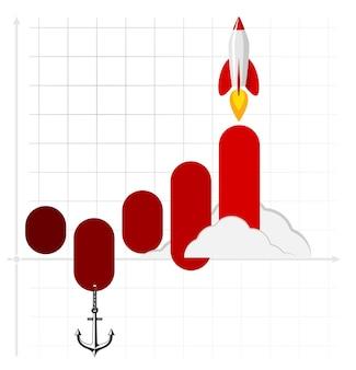 Modello di infografica di lanci di razzi o astronavi. concetto di business di avvio di successo. utilizzato per il web design e il layout del flusso di lavoro. illustrazione vettoriale.