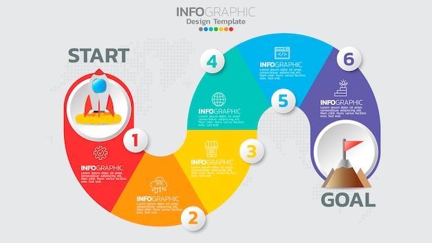 Modello di infografica con diagramma di processo del flusso di lavoro a 6 elementi.