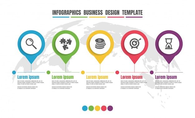 Modello di progettazione variopinta di cronologia di infographics per l'affare