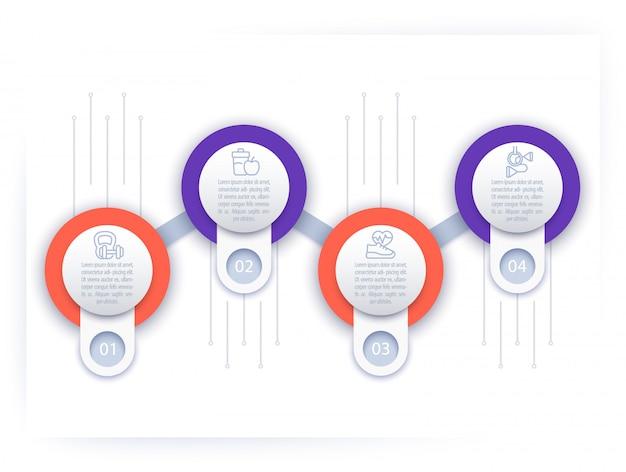 Infografica, modello di sequenza temporale con icone di linea fitness,