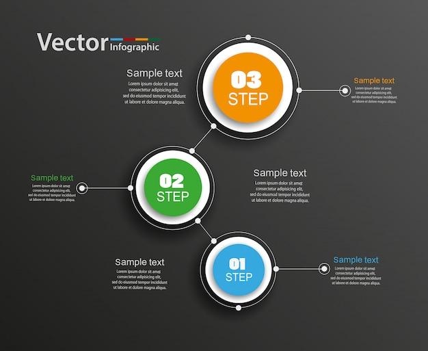 Modello di progettazione infografica vettoriale con 3 passaggi