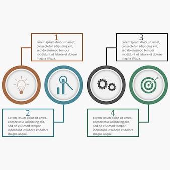 Infografica con cerchi e quadrati lineari modello di business con quattro parti di opzioni
