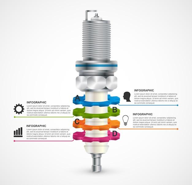 Infografica con candele per presentazioni e brochure.