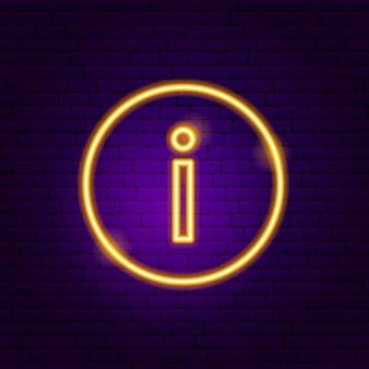 Pulsante informazioni insegna al neon. illustrazione vettoriale di promozione aziendale.