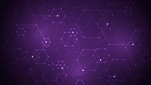 Una rete di informazioni progettata utilizzando linee esagonali su uno sfondo blu scuro e decorata con scintillii.