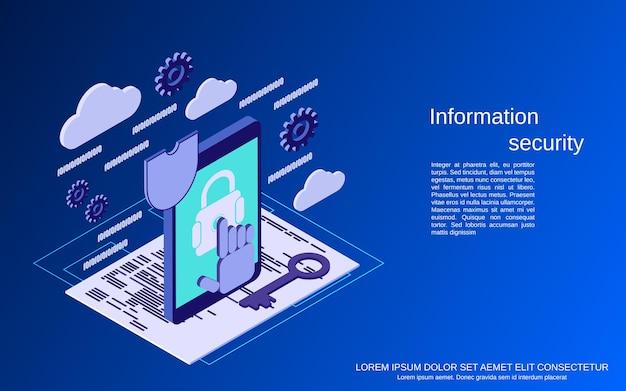Illustrazione di concetto di vettore isometrico piatto di sicurezza delle informazioni