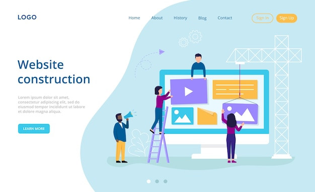 Tecnologia dell'informazione, costruzione di siti web, concetto di amministrazione del sistema. un gruppo di personaggi collabora riempiendo il sito web con vari contenuti di intrattenimento. stile piatto.