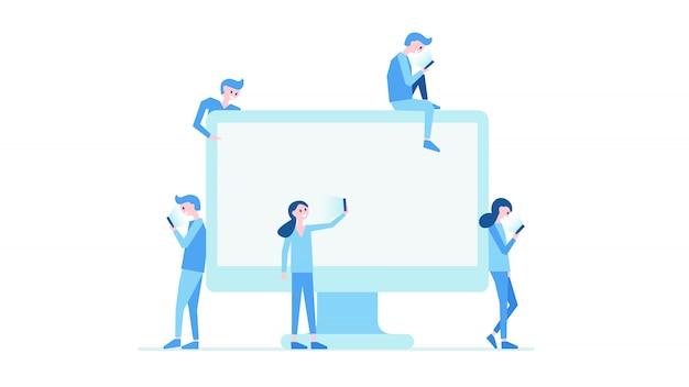 Illustrazione di vettore del mondo moderno informativo. monitor e persone