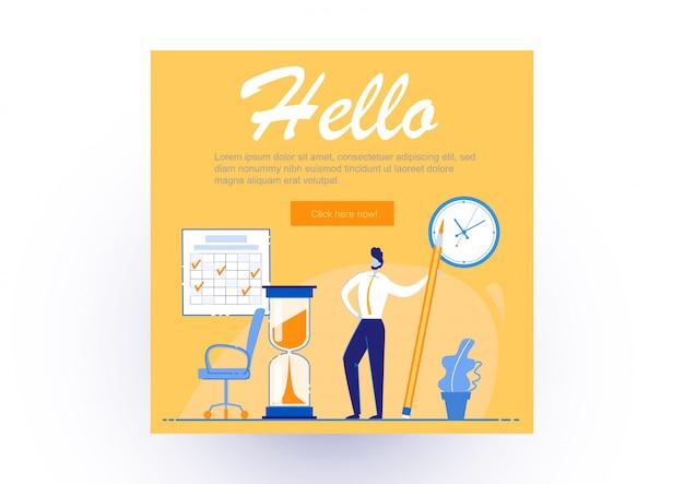 Poster informativo scritto ciao, lavoro d'ufficio. guy è soddisfatto di se stesso ed è in piedi con una grande matita in ufficio. determinazione di come aumentare la produttività sul lavoro.