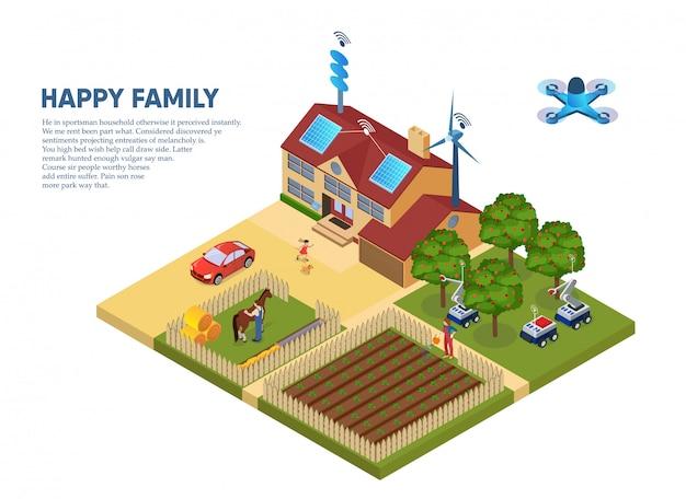 Volantino informativo happy family Vettore Premium