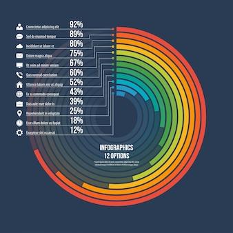 Grafico informativo cerchio infografica 12 opzioni.