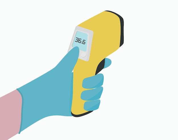 Termometro a infrarossi giallo in mano con illustrazione vettoriale di guanti medici
