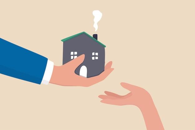 Eredita la casa o la proprietà immobiliare dai genitori, consulente finanziario per la pianificazione dell'eredità, passaggio di un'eredità al concetto di figlio, padre che dà casa, ricchezza o proprietà ai suoi figli piccoli.