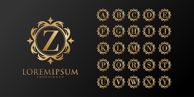Modello di lettera iniziale alfabeto d'oro