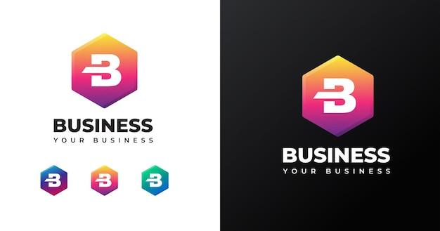 Modello di progettazione del logo della lettera b iniziale con forma geometrica
