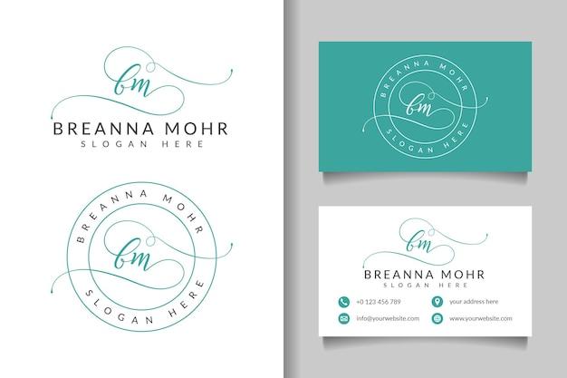 Collezioni di logo femminili iniziali bm con modello di biglietto da visita