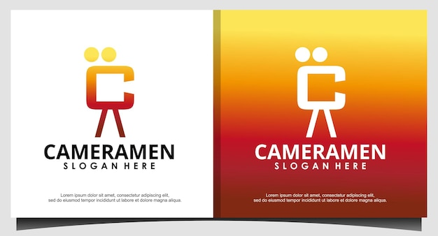 C iniziale per vettore di design del logo cameramen