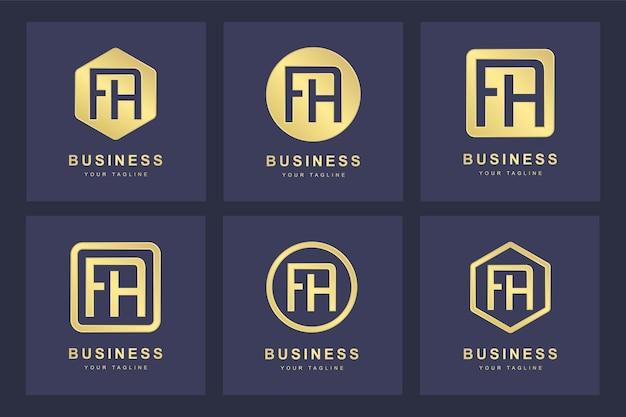Design del logo lettera fa iniziale.