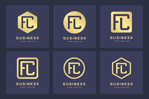 Design del logo della lettera fc iniziale.