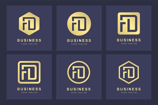 Design del logo della lettera fd iniziale.