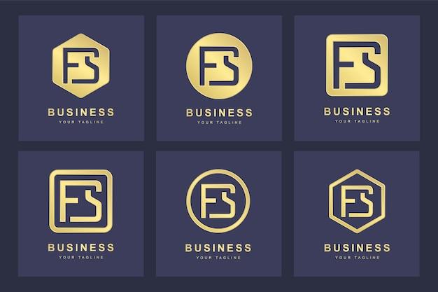 Design del logo della lettera fs iniziale.