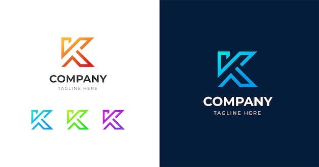 Modello di progettazione del logo della lettera k iniziale, concetto di linea