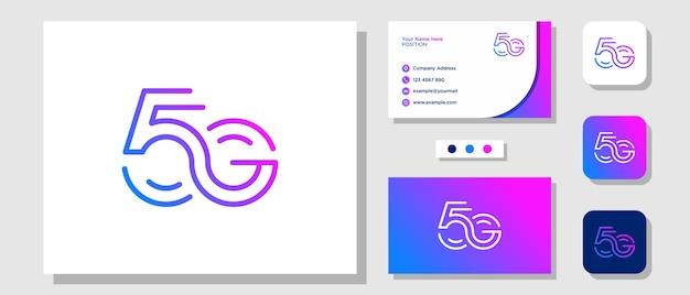 Lettera iniziale 5 g monogram segnale di velocità dati di rete logo design con modello di layout biglietto da visita