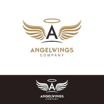 Ispirazione per il design del logo della lettera iniziale a e delle ali d'angelo