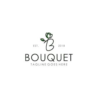 Lettera iniziale b bouquet fiore pianta simbolo logo design