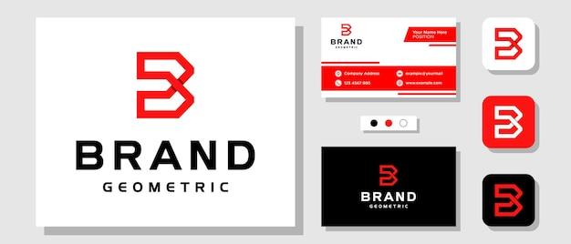 Lettera iniziale b monogramma rosso maschile geometrico forte logo design con biglietto da visita modello