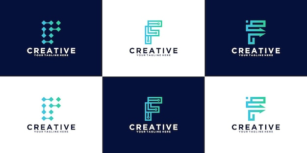Lettera iniziale f collezione di ispirazione per il design del logo per la tecnologia e il business