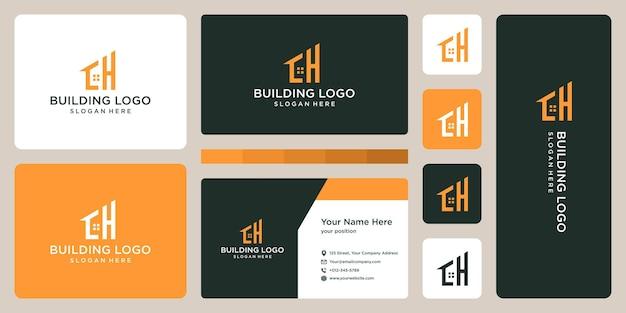 Lettera iniziale h e logo della costruzione della casa con biglietto da visita. Vettore Premium