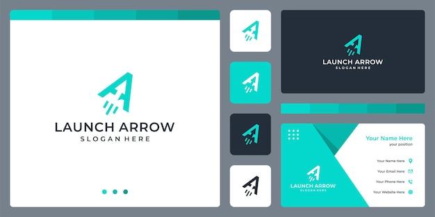 Lettera iniziale una freccia e lancio di ispirazione per il design del logo. disegno del modello di biglietto da visita.