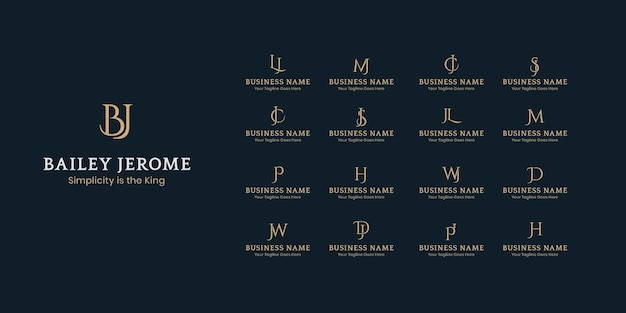 Lettera iniziale logo template design collection, due iniziali minimi loghi aziendali