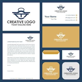 Lettera iniziale m combinazione di logo del bilanciere e biglietto da visita premium